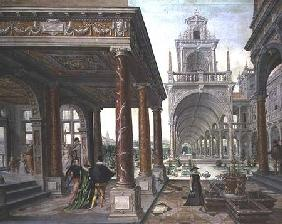 Cappricio of palace architecture with Figures Promenading