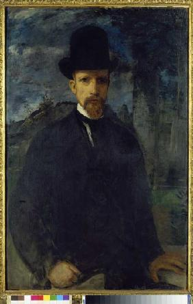 Self-portrait with a high hat.