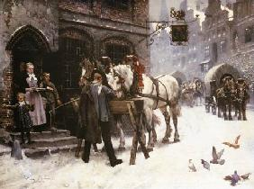 Pferdef�ttern in front of an inn in winter
