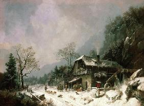 Winter landscape at a smithy