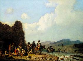 Campagna landscape with pulling country people in front of a ruin