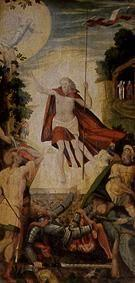 The resurrection Christi. Panel of the altar of the Frauenkirche raked into mill mountain/Elbe