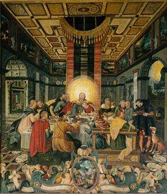 The last Holy Communion. Middle panel of the altar of the Frauenkirche into mill mountain/Elbe Elbe