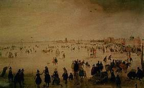 Lively hustle and bustle on a surface of the ice