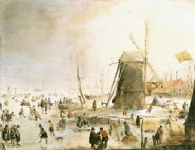 Winter landscape with skate drivers for a windmill