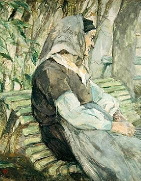 Old Woman Seated on a Bench in Celeyran