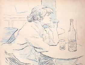 Woman Drinker, or The Hangover, 1889 (ink and coloured pencil)