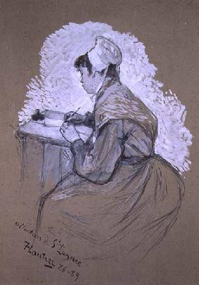 'To the author of St. Lazare, 1886-89', possible study for a drawing published in 'Le Mirliton' now
