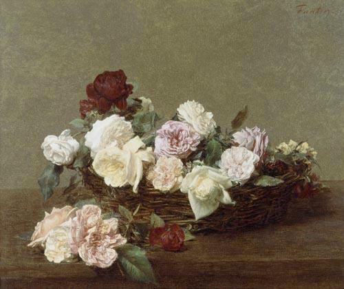 a basket of roses oil painting of henri fantin latour as art print or hand painted oil. Black Bedroom Furniture Sets. Home Design Ideas
