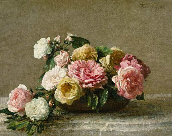 roses in a dish oil painting of henri fantin latour as art print or hand painted oil. Black Bedroom Furniture Sets. Home Design Ideas