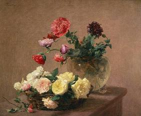 Poppies in a Crystal Vase, or Basket of Roses