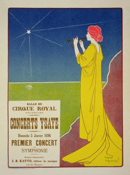 Reproduction of a poster advertising the 'Ysaye Concerts', Salle du Cirque Royal, Brussels, 1895 (co