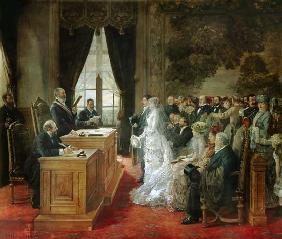 The wedding of Mathurin Moreau in the city hall of Paris.