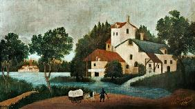 Landscape with water-mill and cars