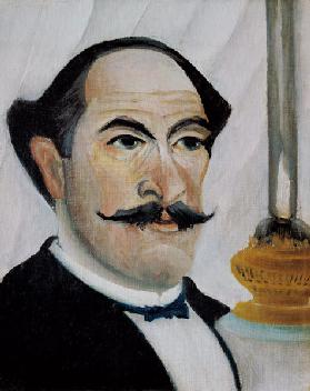 Self-portrait with lamp
