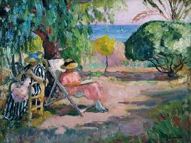 Summer's day in a garden by the sea