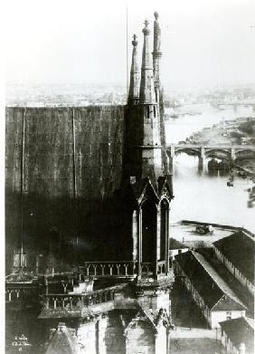View of the Cathedral of Notre-Dame in Paris and the River Seine, c.1853 (b/w photo)