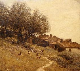 A Hillside Village in Provence (oil on canvas)