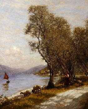 A Veronese Shepherdess, Lake Garda (oil on canvas)