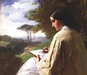 Young Lady sketching in a landscape