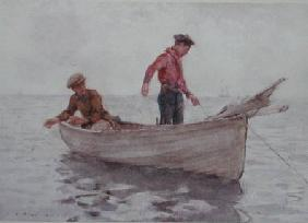 Boys fishing off Newlyn