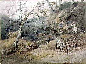 Sportsmen in a Wood