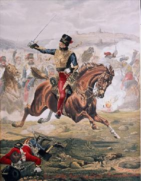 Lord Cardigan (1797-1868) leading the Charge of the Light Brigade at the Battle of Balaklava, 25th O
