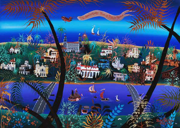 75th Anniversary of Palm Beach, Florida (oil on canvas)