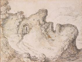 Rocky landscape with ruins, forming the profile of a man's face