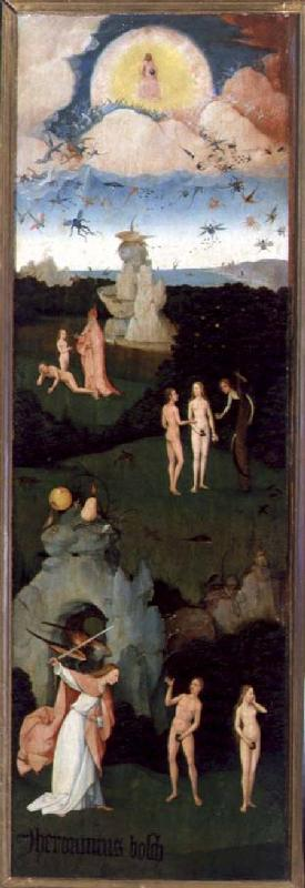 The Haywain: left wing of the triptych depicting the Garden of Eden