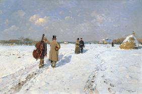 Musicians in winter returning home