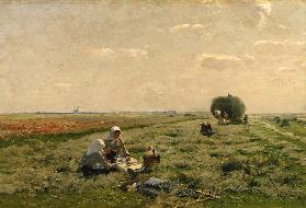 Have a break during the hay harvest at the Niederrhein