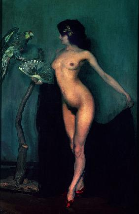 Nude Woman and Parrot