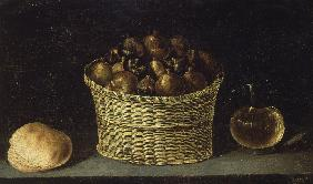 Wicker Basket with Figs, Bread and Pitcher with Honey