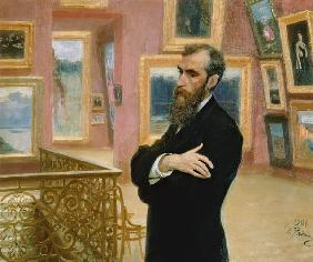 Portrait of Pavel Tretyakov (1832-98) in the Gallery