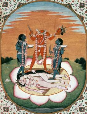 Icon of Chinnamasta, the Mahavidya arising from the joined bodies of the Originating Couple, Kangra,