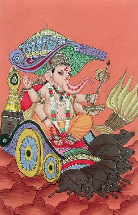 Ganesh, the Elephant God (gouache on paper)