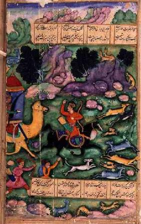Bahram Gur Showing his Prowess While Hunting with Azad, folio 107a, from 'The Eight Paradises', writ