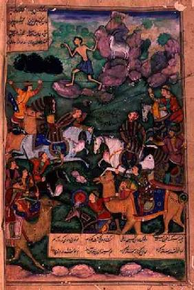 The Battle of Clans, folio 15b from the poem 'Layla and Majnun', written by Amir Khusrau Dihlavi (12