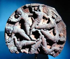 Ceiling roundel with eight inter-linked armed warriors, South Rajasthan