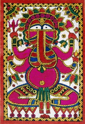 Elephant headed god Ganesh (oil on cloth)