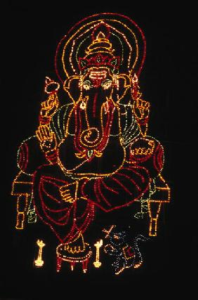 Illuminated Ganesh (mixed media)