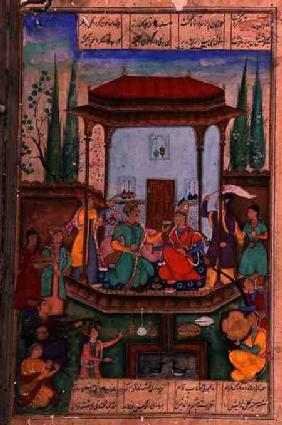 Iskandar Enthroned, folio 88a, from 'The Mirror of Alexander', written by Amir Khusrau Dihlavi (1253