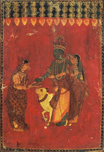 Krishna and Radha with a Cow and a Gopi