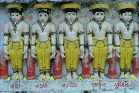 Pancha Pandava, the five hero brothers of the Mahabharata (painted stone)