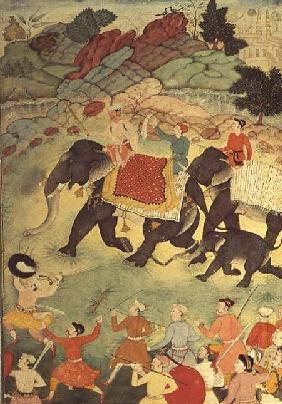 A party of elephant hunters, Mughal