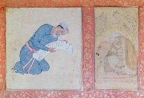 Portrait of Min Musavir giving a petition to Emperor Akbar
