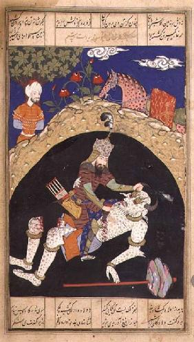 Rustam slays the White Div of Mazandaran, illustration from the 'Shahnama' (Book of Kings), by Abu'l