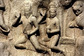 Shiva bestowing a gift, detail from the carving depicting Arjuna''s Penance from the Mahabharata, Pa