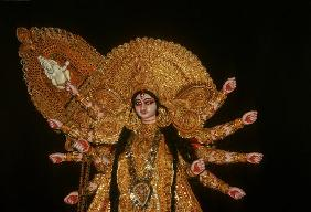 Statue of goddess Durga at Durja Pooja festival (mixed media)